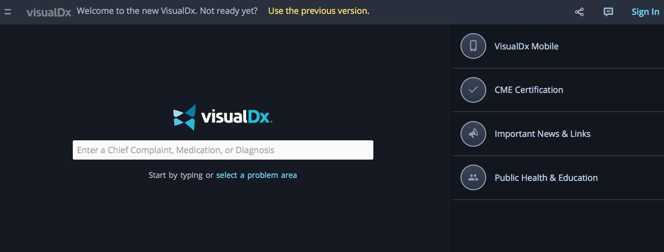 VisualDX menu LG