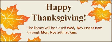 Thanksgiving closure 2018